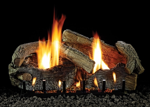 LS-RAO Aged oak Refractory Log Set with Slope Glaze Burner by White Mountain