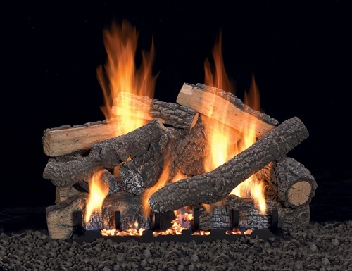 LS-P Pondersoa Refractory Log Set with Slope Glaze Burner by White Mountain Hearth