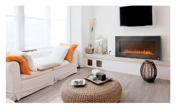 EFL42H Electric Fireplace that cannot be recessed. Decorative clear glass embers